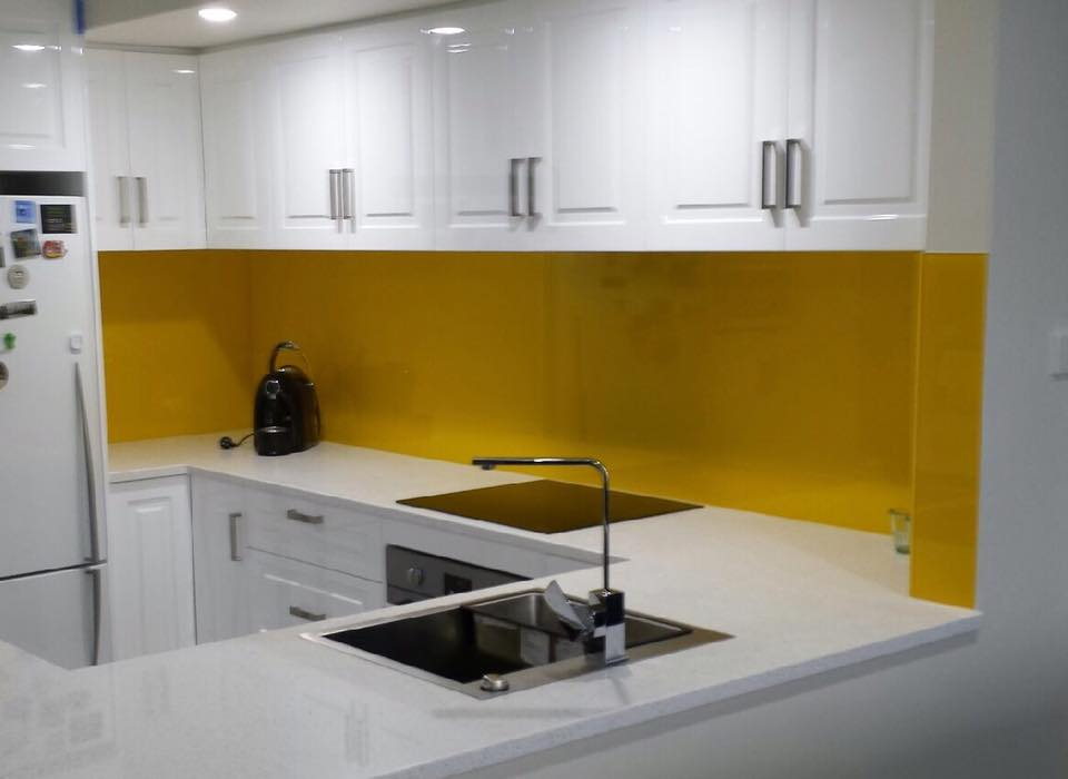 White/Yellow Kitchen Glass Splashbacks Adelaide