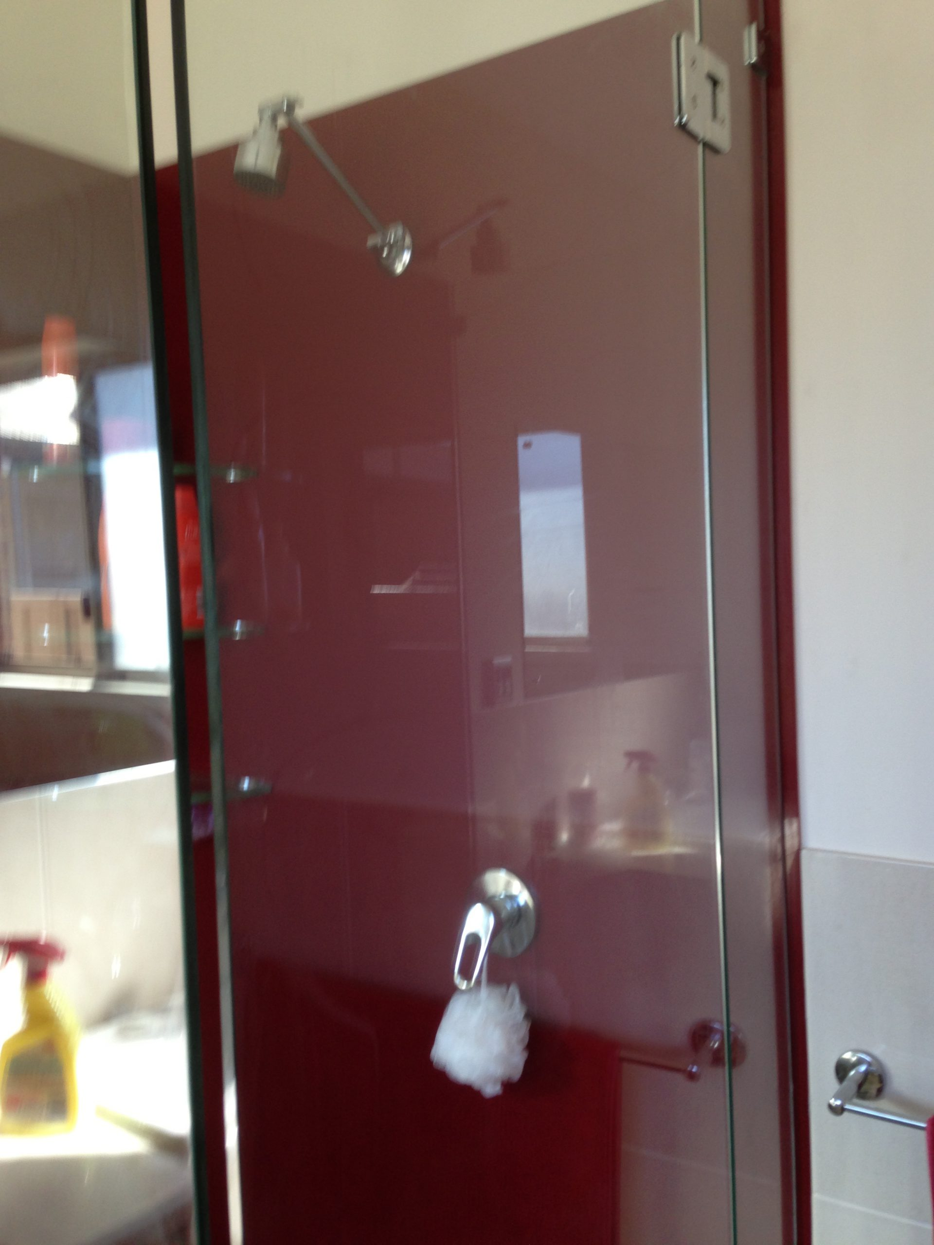 Red Background - Shower screens