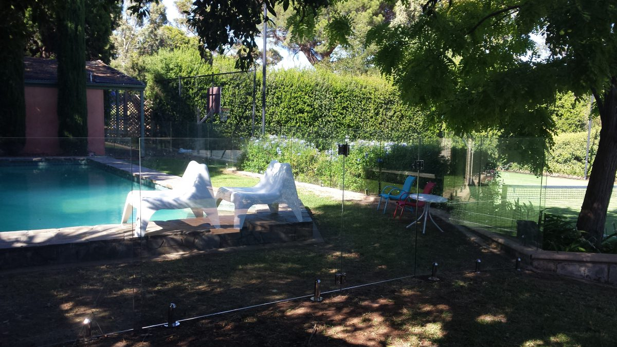 Backyard view with Glass Pool Fencing Adelaide